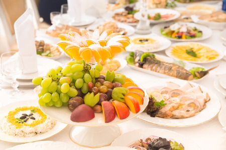 Long Table with food and drink Standard-Bild