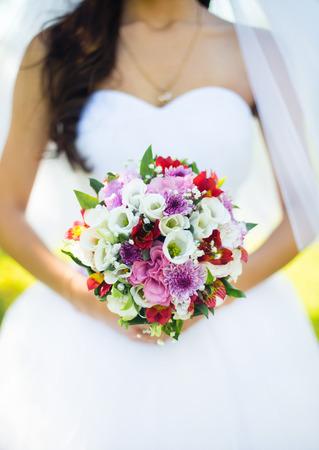 Luxury wedding bouquet close-up photo