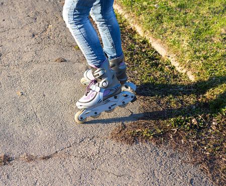 inline skater: roller skates on beautiful girl Stock Photo