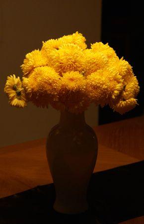 Yellow Bouquet in Vase Stock Photo