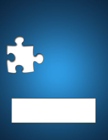 layout: Missing puzzle piece on blue backgound with box for text.