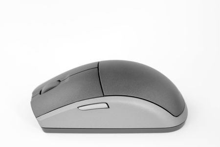Computer mouse, wireless, black and grey. Stock Photo