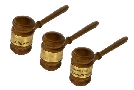 Gavel, used by judge, chairman, or auctioneer. Stock Photo