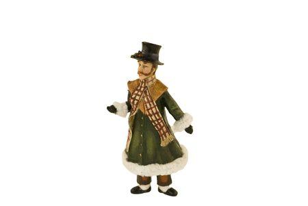 An old fashioned man caroling. Stock Photo