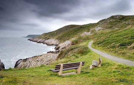Two Benches On The Coast In Wales Stock Photo - 2322794