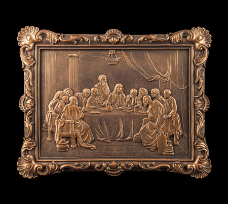 sacrum: bronze picture Last Saviour, plaster frames isolated on a background