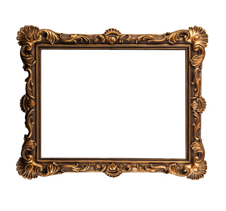 Handcrafted vintage picture frame isolated over white background