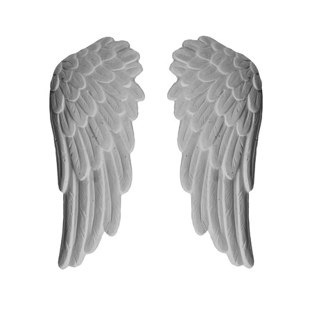 White plaster wings on isolated white background Stock Photo