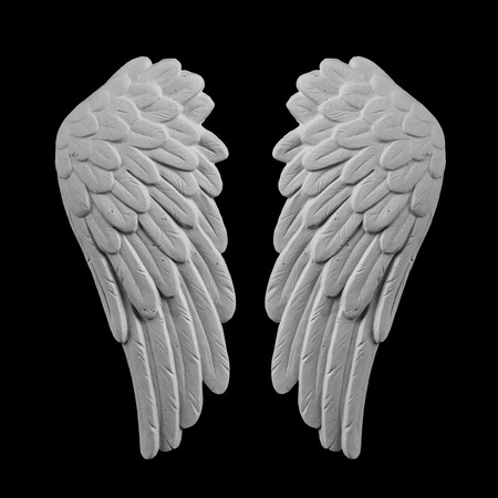 white plaster wings on a black background Stock Photo