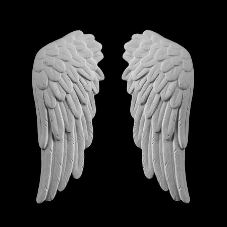 angelical: white plaster wings on a black background Stock Photo