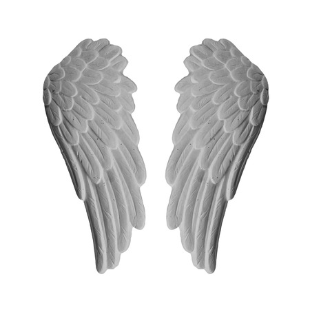 angelical: White plaster wings on isolated white background Stock Photo
