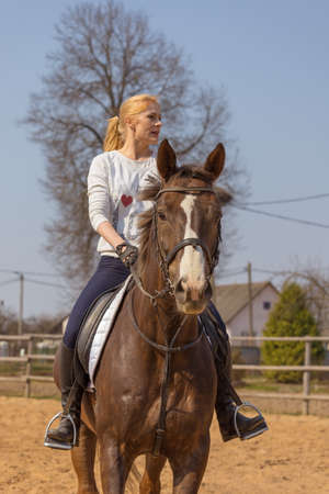 Girl riding a horse gallops in a paddock on a ranch Stock Photo