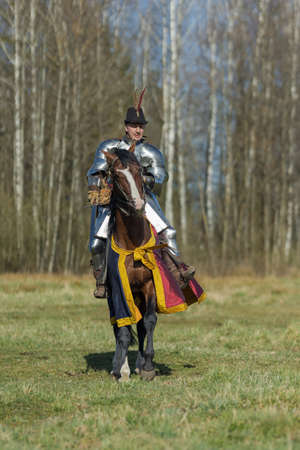 adult man in knightly armor rides across the field on a horse in armor in red and blue blanket