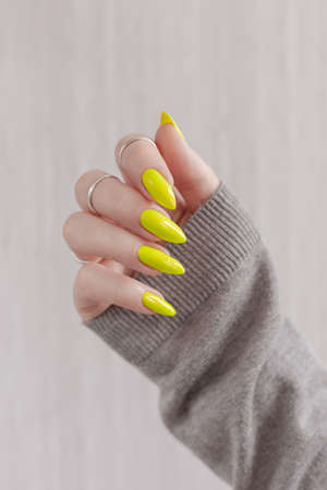 Female hand with long nails 免版税图像
