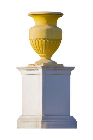 elements of architectural decorations of buildings, flower vases and pommel on the streets in Minsk, public places.