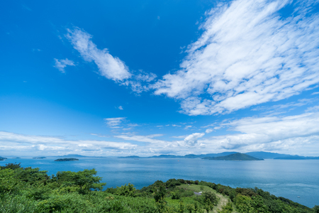 Seto Inland Sea and the sky (Taken towards Shodoshima from Sanuki City, Kagawa Prefecture)