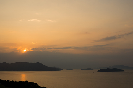 Seto Inland Sea.Evening Scene (Taken from Sanuki City, Kagawa Prefecture) 版權商用圖片