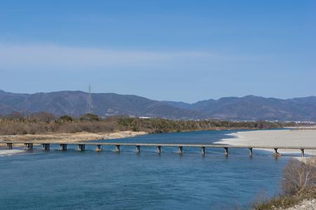 Yoshino River Kawashima Diving Bridge (taken from Yoshino River City, Tokushima Prefecture) Stock Photo