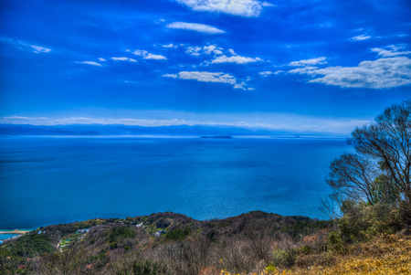 Mountains of Ehime Prefecture and Seto Inland Sea. The View from Shiudeyama (Mitoyo City, Kagawa Prefecture)