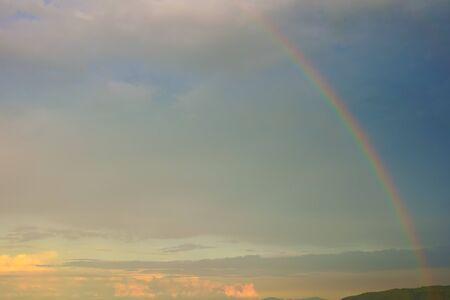 Rainbow. Early autumn sky 版權商用圖片