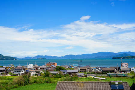 Seto Inland Sea. train. Takamatsu City, Kagawa Prefecture Stock Photo