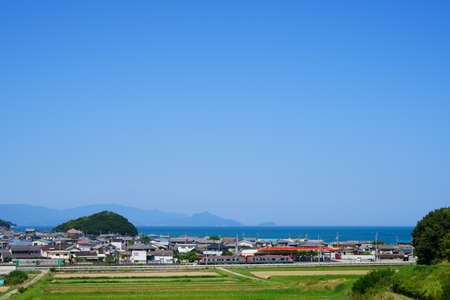 Seto Inland Sea. train. Sanuki City, Kagawa Prefecture Stock Photo