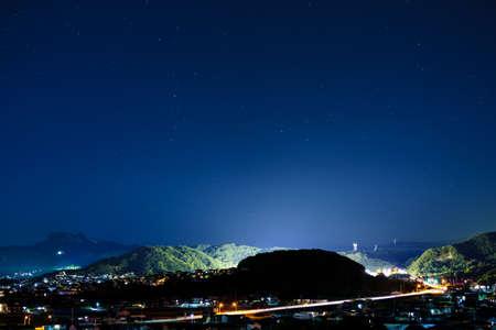 Night view, starry sky(Takamatsu City, Kagawa Prefecture) Stock Photo