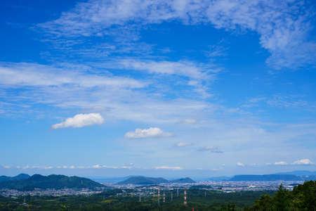 Takamatsu cityscape. Early autumn sky(Kagawa prefecture) Stock Photo