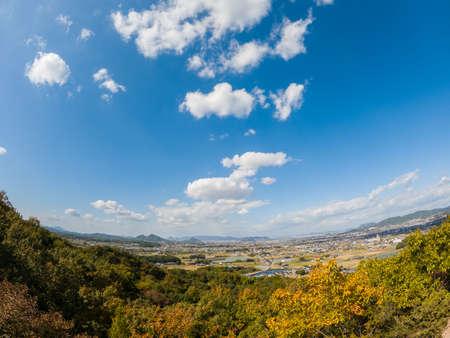 autumn's Dake Mountain(Miki Town, Kagawa Prefecture). Taken in the direction of Takamatsu City Stock Photo
