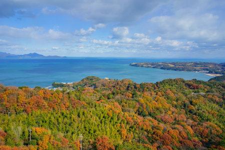 Late autumn mountain surface and Seto Inland Sea(Sanuki City, Kagawa Prefecture)