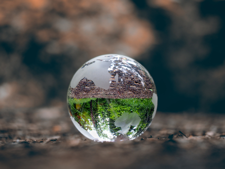looking through an object: Globe on dry land. In the bowl of green trees, grass. Glass - a material, concepts and themes, concepts, environment, nature, ecology, drought