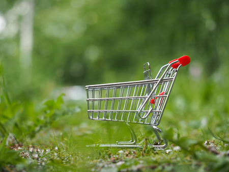 Grocery supermarket trolley in the grass. Concept - eco-friendly products, supermarket or Internet Stock Photo