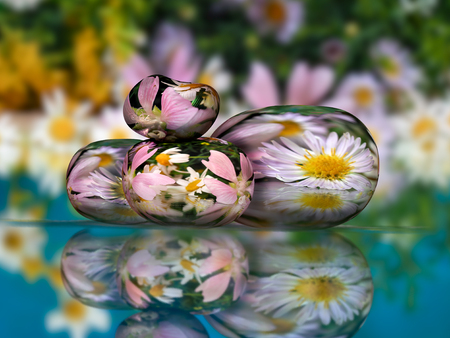 inner peace: Volume stones with flowers in water Zen pyramid. Concept - peace of mind, inner peace, harmony, environment Stock Photo