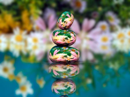 paz interior: piedras transparentes en pirámide Zen agua. Piedras del volumen dentro de la naturaleza piedras, flores. Concepto - tranquilidad, paz interior, la armonía, el medio ambiente