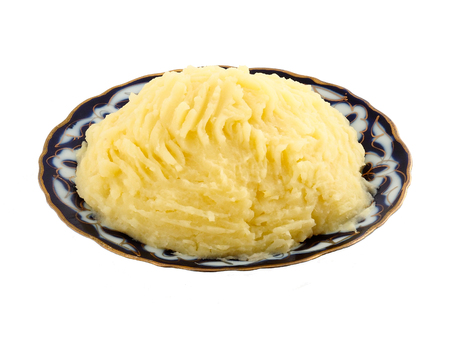 pure de papa: Beautiful plate with mashed potatoes on a white background