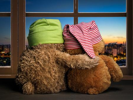 창에서 일몰을 볼 두 친구 또는 팬. 장난감 다채로운 모자 곰 새끼. 창문을 받아들이세요. 개념 - 사랑, 우정, 지원