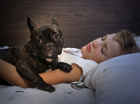 Young girl sleeping on the bed. Dog - French Bulldog. Evening or night, in a dark room Stok Fotoğraf