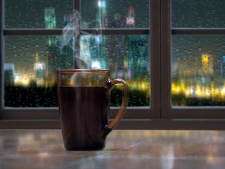 뜨거운 음료와 함께 머그잔 - 차 또는 커피 창문 창턱에. 바깥 쪽, 밤, 도시의 불빛, 비, 유리 잔