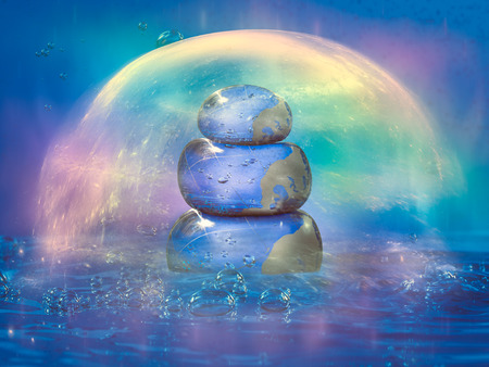 cairn: Cairn filled with water inside the water. Rainbow glow cocoon
