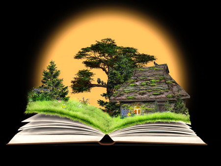 Fairy tale on the pages of an open book. Rustic old house, a forest glade with flowers. Idyllic picture for kids Stock Photo
