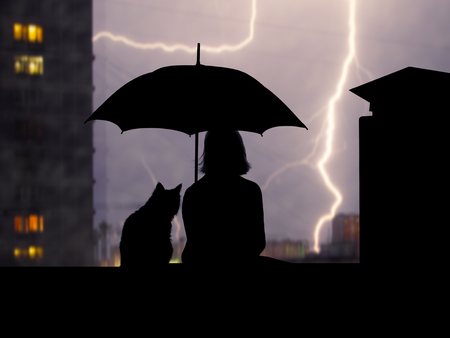 Silhouettes girl and cat under umbrella sitting on the roof high. Over the city lightning