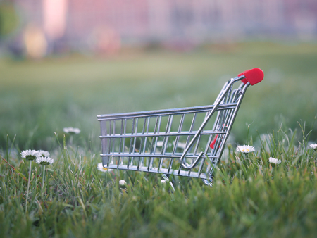 Trolley for supermarket on a lawn of green grass. The concept of eco-friendly products from farms, natural food