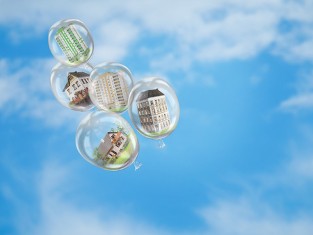 Balloons in the blue sky with a variety of buildings inside. The concept of housing choice, real estate Agency, home insurance