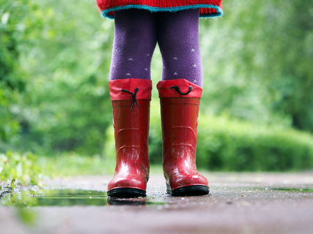 Childs feet in rubber boots. Summer, puddles, rain. The concept of childrens recreation, walks in any weather, the health of the child