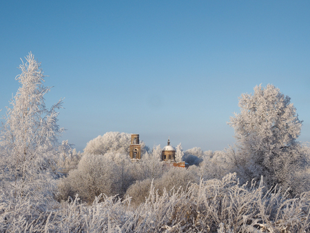 Amazing winter beauty of nature. Ancient ruined Church among white, snow-covered trees