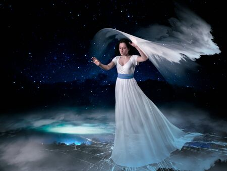 Mystical story with a girl in the clouds above the ground
