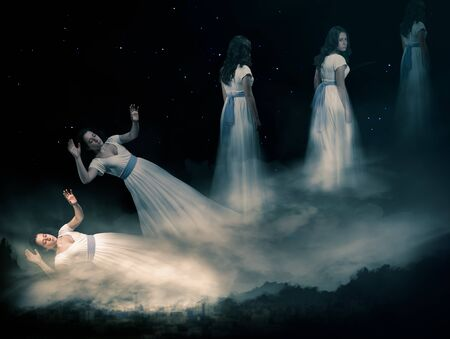 The concept of the astral plane, out-of-body experience and the afterlife 版權商用圖片