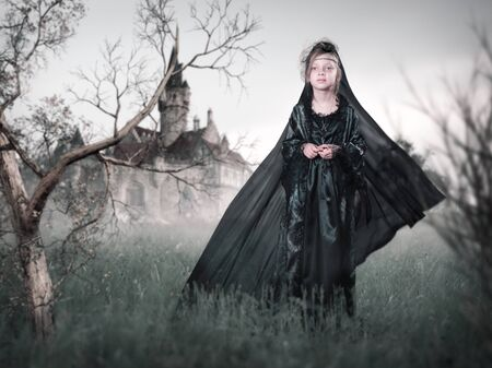 A mystical story about a child Princess from an old castle 스톡 콘텐츠