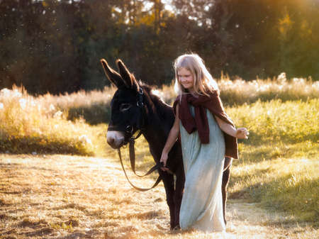 Girl with a donkey walking in the field