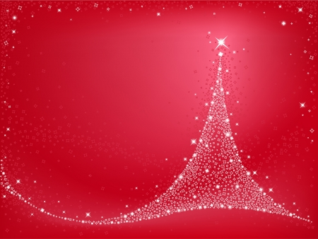 Shiny Christmas tree on red background Vector